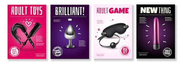 Sex toys poster set with advertising captions and accessories for adult games  illustration