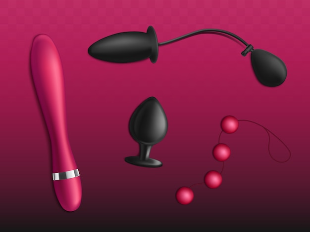 Sex toys for womens pleasure set isolated on gradient red background.