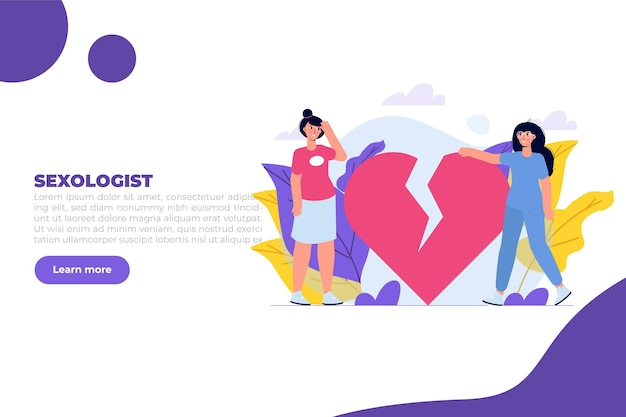 Sexologist consultation  psychological sexual problems and health. vector illustration.