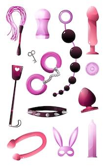 Секс-игрушки для бдсм и резаное удовольствие на белом фоне