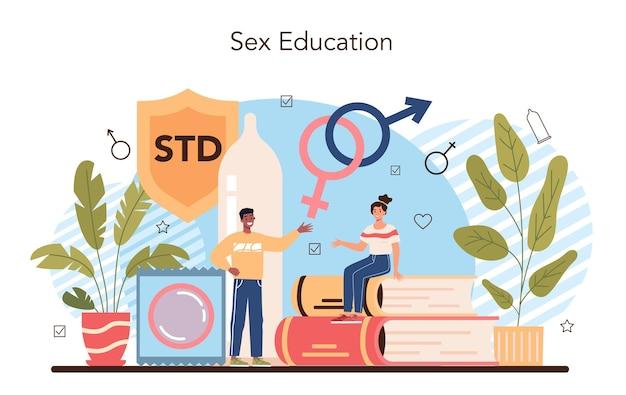 젊은 사람들을 위한 성교육 개념 성 건강 수업
