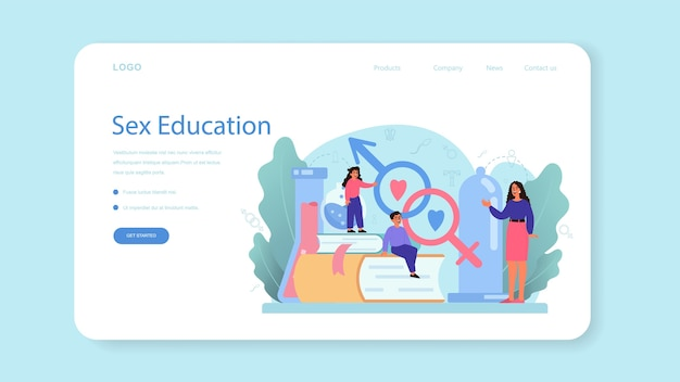 Sexual education web banner or landing page