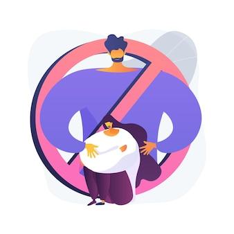 Illustrazione di vettore di concetto astratto di molestie sessuali. bullismo sessuale, rapporti di lavoro anormali, abusi e aggressioni, rapporti di molestie, interazioni sociali online metafora astratta.