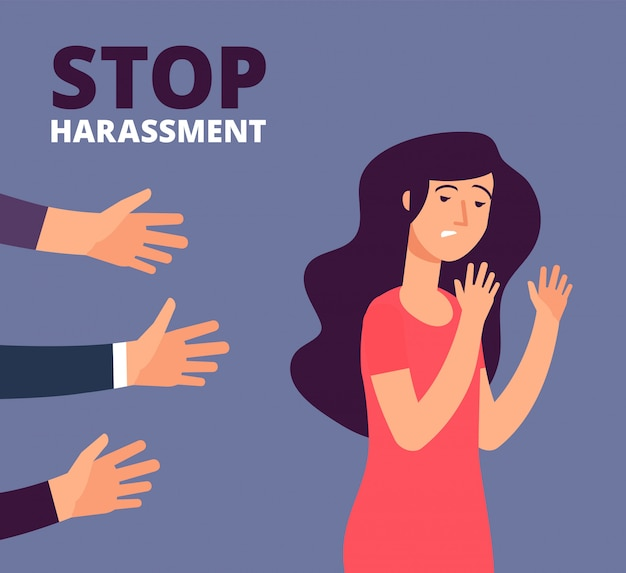 Sexual harassment concept. woman and mans hands.
