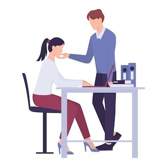 職場でのセクハラ。暴行や虐待行為。男性の上司や同僚が職場で女性会社員を模索します。不適切な方法で女性に触れる男。