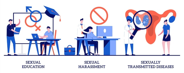 Sexual harassment and sexually transmitted diseases illustration with tiny people