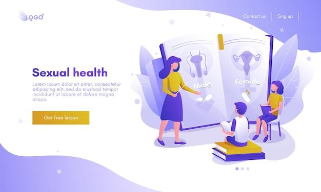 Дизайн целевой страницы сексуального здоровья, шаблон баннера веб-сайта, плоские векторные иллюстрации. репродуктивная система человека. половое воспитание.