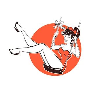 あなたのロゴやラベルのためのセクシーで美しさのレトロなピンナップガール