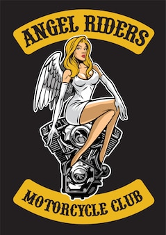 Sexy angel and motorcycle engine
