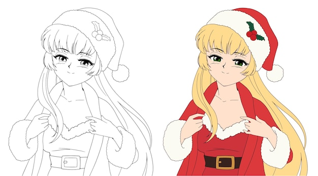 Sexy anime woman wearing christmas santa costume holding a gift contour picture for coloring book