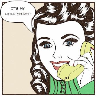 セクシーな美しい女性は、レトロな電話でチャット