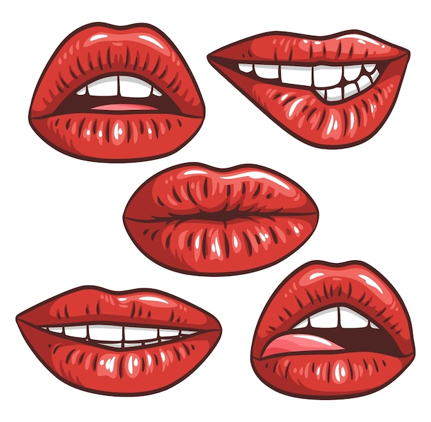 Sexy female lips with red lipstick vector fashion illustration woman mouth set gestures collection