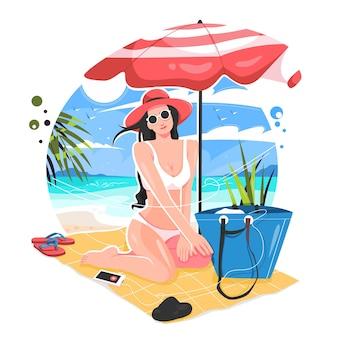 ビーチのイラストで夏を楽しむセクシーな女の子