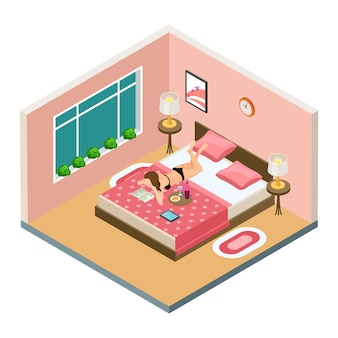 Sexy girl reading book, drinking wine in bedroom on bed isometric vector illustration