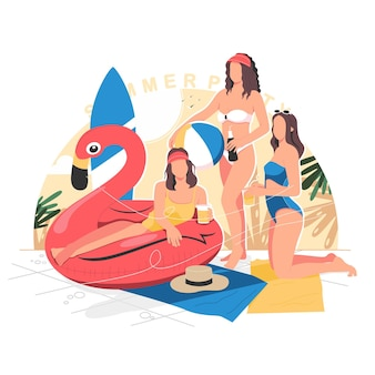 Sexy girls on summer party illustration