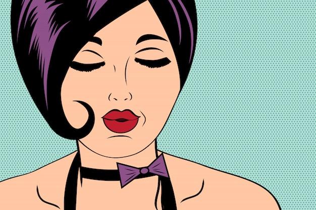 Сексуальная рогатая женщина в комическом стиле