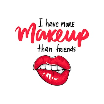 Sexy lips, bite one's lip. lips biting. female lips with red lipstick. makeup quote. sketch style.
