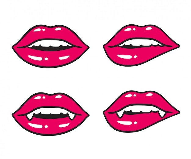 Sexy lips illustration set with vampire fangs