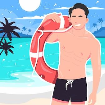 해변 그림에 부표와 함께 포즈를 취하는 섹시한 남자