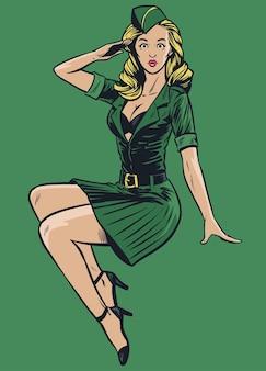 빈티지 드로잉 스타일의 섹시한 군사 핀업 소녀