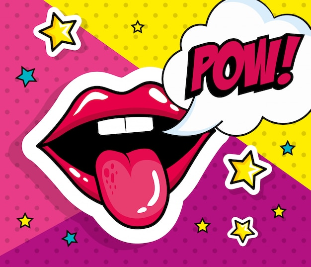 Sexy mouth with tongue out and pow expression pop art style