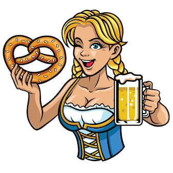 Sexy oktoberfest girl pretsel and the beer