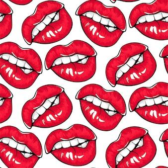 セクシーな赤い唇のシームレスなパターン。赤い口紅の女性の口は、自分の唇をかみます。化粧品と化粧の背景。ファッション 。