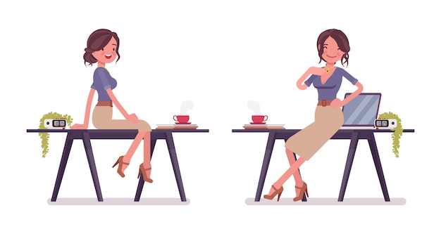 セクシーな秘書が作業机の近くでポーズします。エレガントな女性事務員の笑顔、魅力的な上司。経営管理の概念。スタイル漫画イラスト、白い背景