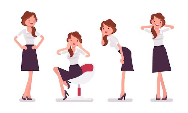 Sexy secretary in tempting poses
