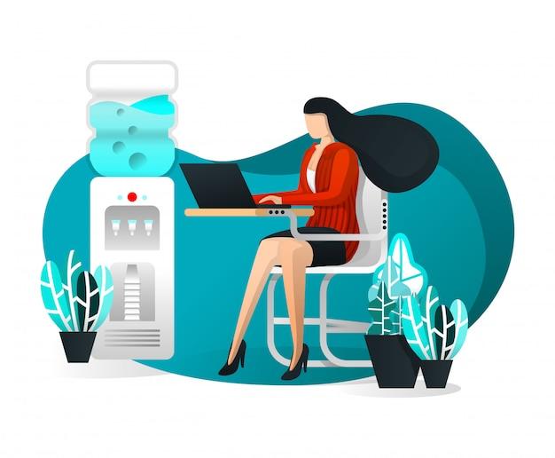 Sexy secretary works on desk with flat cartoon illustration