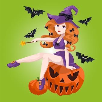 Sexy witch sit on pumpkin