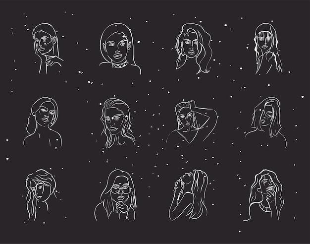 Сексуальные женщины мультфильмы символ набор дизайн иллюстрация