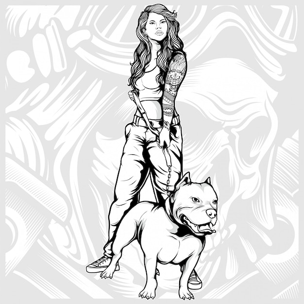 Sexy women with pit bull hand drawing
