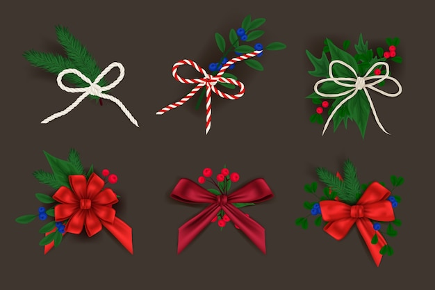 Sey of chistmas decoration bows