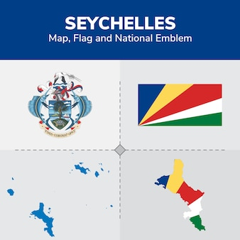 Карта сейшельских островов, флаг и национальный герб