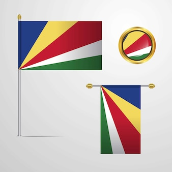 Seychelles waving flag design with badge vector