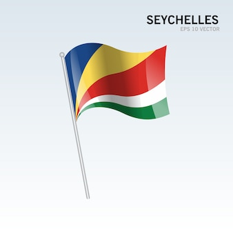 Seychelles waving flag isolated on gray background