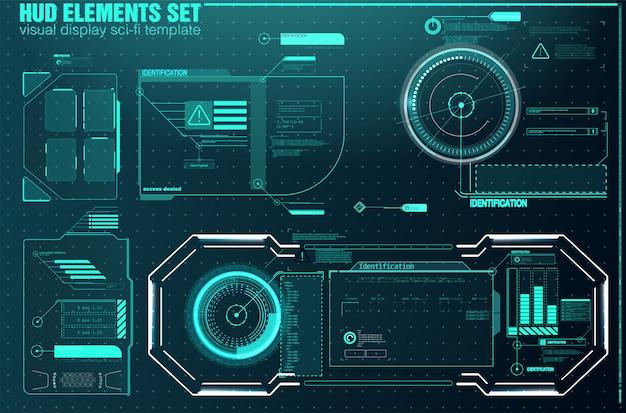 ビデオゲームのハイテク画面。 sfコンセプトデザイン。正方形のフレームブロックは、hudインターフェイス要素を設定します。