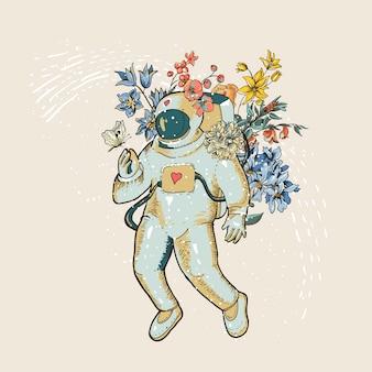 花を持つビンテージベクトル宇宙飛行士イラスト。 sf、手描きスペース、