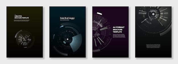 最小限のパンフレットテンプレート。暗い上の円要素。テクノロジーsf