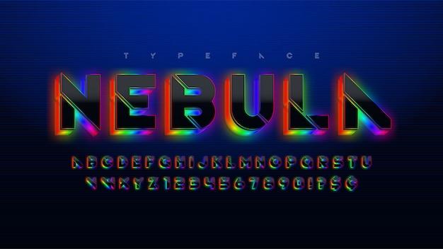 ステンシルの未来的なsfアルファベット、追加の輝く空間デザイン