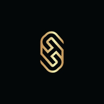 頭文字shラインロゴ重複デザインベクトル