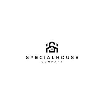 Буква sh логотип с домашним шаблоном