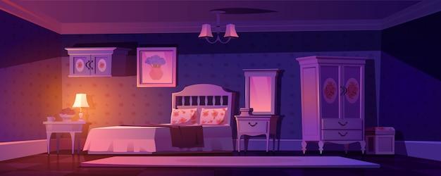 Потертый шикарный интерьер спальни, пустая винтажная комната