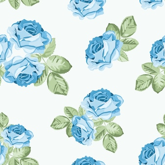 Shabby chic blue rose seamless pattern
