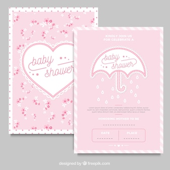 Shabby chic cards with umbrella and heart