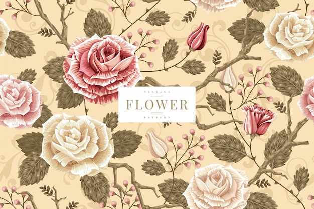Shabby chic floral pattern template