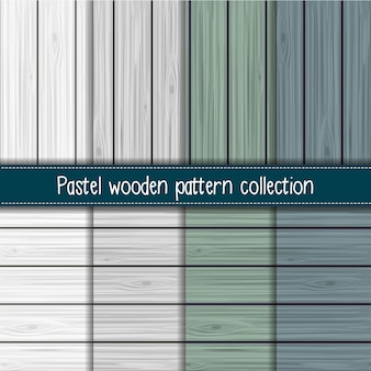Shabby chic gray, sage and blue seamless wooden pattern collection