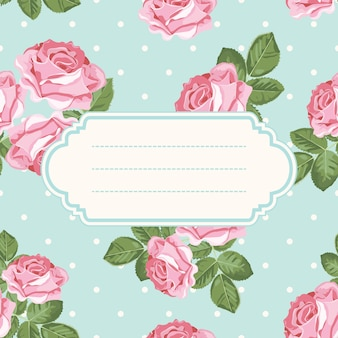Shabby chic rose and polka dot light green background with blank, empty frame.