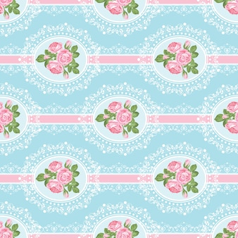 Shabby chic rose seamless pattern on blue background
